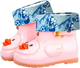 Children's Waterproof Rubber Rain Boots in Fun Patterns with Easy-On Handles Simple for Kids
