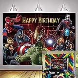 NSY The A-vengers Toile de fond pour fête d'anniversaire sur le thème des super-héros Marvel (2,1 x 1,5 m)