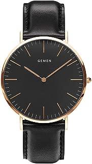 腕時計 メンズ 超薄型7MM ククラッシー 本革製のブレスレット 日本製クォーツムーブメント 40mm黒色文字盤 30m生活防水 人気 ビジネス 男女兼用 安い ブラック