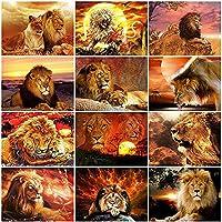 DIYギフトの家の装飾のためのライオンモザイクダイヤモンド絵画手作り動物刺繡クロスステッチ-6000_Square_30X40cm