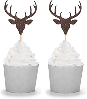 Set of 24 Brown Glitter Antler Cupcake Toppers Kid's Party Baby Shower Wedding Decorations