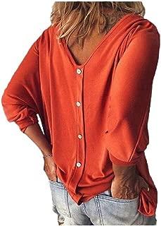 RkYAO Women's Plain Casual Loose Long Sleeve V-Neck Shirt Blouse