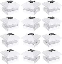Solar Fence Post Cap LED Light for 5 x 5 PVC Posts, White, 12 Pack