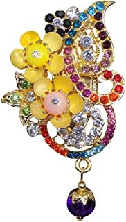 Confidence Women's Rhinestone Brooch for Sarees and Gowns (Multicolour)