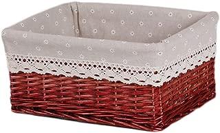 Q.AWOU Laundry Baskets Rattan Cotton Burlap Lining Portable Dirty Hamper Clothes Sundries Storage Basket Wine Red (Size : 30 20 12cm)