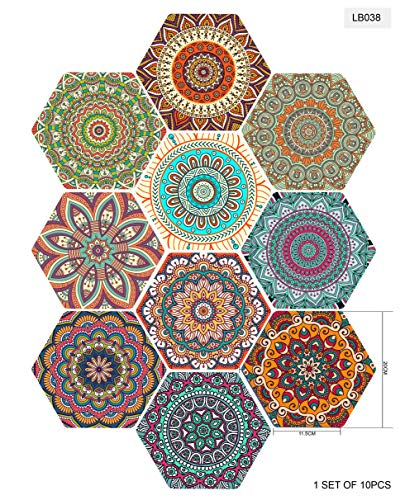 Hexagon Tegel Stickers 10 Stks Set Tegel Decals, Art Decoraties Home Decor Vloerstickers Verwijderbare Muursticker Decals Vloer Trappen Decor voor badkamer, Keuken, Vloer en Trappen