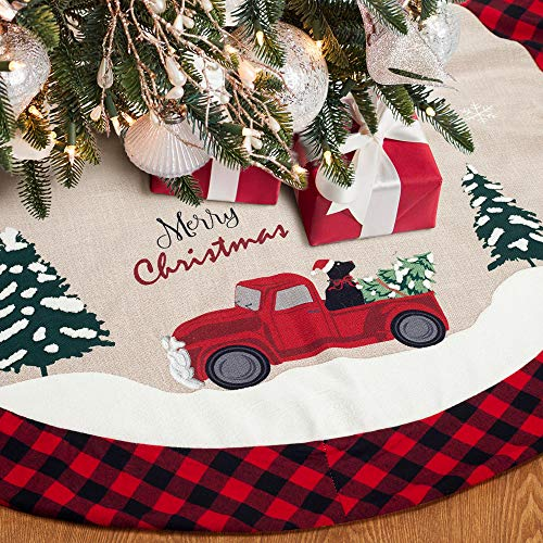 XAMSHOR 48 Inches Burlap Christmas Tree Skirt with Red and Black Plaid Border Embroidered Tree Skirt Decor for Xmas Decorations