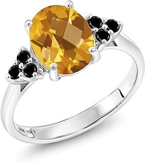 10K White Gold 1.80Ct Oval Checkerboard Yellow Citrine Black Diamond Accent Ring