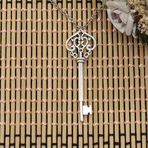 LHXMY Glamour Lady Collana Master Key 69Mm Ciondolo in Argento Corto Lungo Donna Uomo Regalo Gioielli Accessori per Collana, Catena Tonda, 40Cm