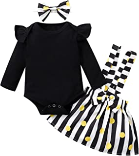 3PCS الرضع طفل الفتيات طويلة الأكمام رومبير ارتداءها + مخطط نقطة مطبوعة تنانير الحمالة (Color : Black, Size : 9-12 Months)