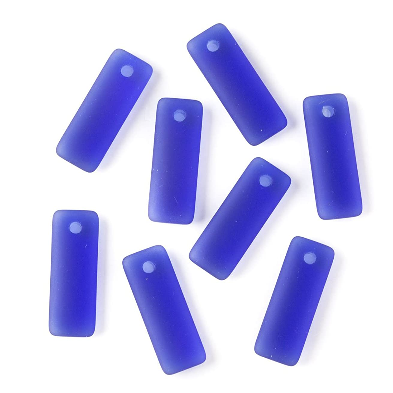 Cherry Blossom Beads Top Drilled Royal Blue Cultured Sea Glass 12x32mm Rectangle Pendants - 8 Per Bag