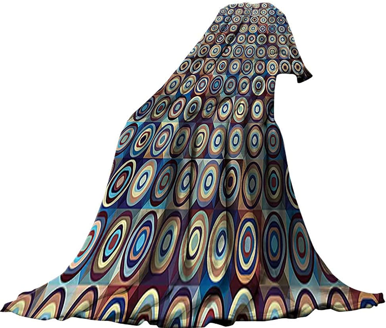 QINYAN-Home Lightweight Blanket (60 x60 ) Summer Quilt Comforter Geometric Decor Modern Ring Formed Round Spiral Vortex Circles in Many Tones Artwork Royal bluee Umber.