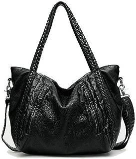 Oversized Handbag,Easeu Women Big Capacity Top-handle Tote Bag Soft Slouchy Faux Leather Braided Shoulder Bag