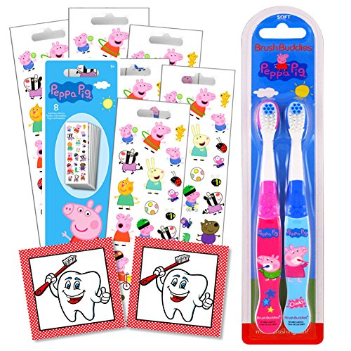 Character Children's Toothbrushes Bundle with Reward Stickers (Peppa Pig)