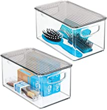 mDesign Plastic Bathroom Storage Bin with Handles, Lid - Holds Soap, Body Wash, Shampoo, Lotion, Conditioner, Hand Towels,...