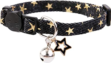 Star Charm Studded Cat Collar Breakaway with Bell,Black Puppy Collars for Small Dogs