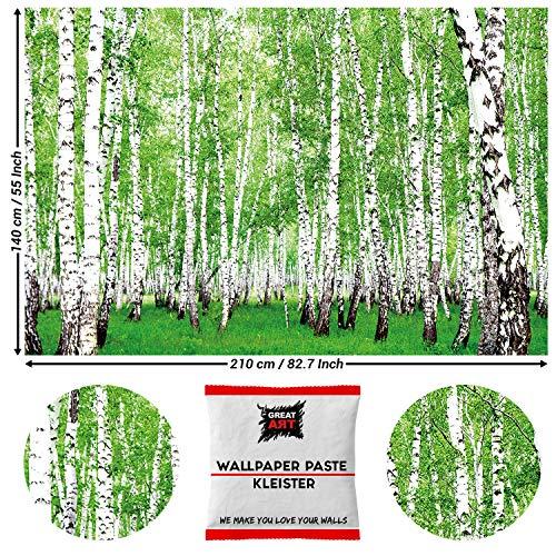 GREAT ART Wanddekoration Birkenwald 210 x 140cm – Natur Bäume Grüner Wald Sommer Sonne Landschaft Naturliebhaber Wandtapete Dekoration – 5 Teile Tapete inklusive Kleister