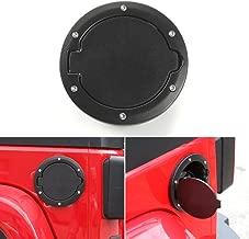 JeCar Aluminum Gas Cap Fuel Filler Door Cover for Jeep Wrangler 2007-2018 JK & Unlimited Accessories (Black)