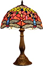 12-Inch Tiffany Style Dragonfly Table Lamp Vintage Stained Glass Desk Lamp Handmade Bedside Lights for Living Room Bedroom...