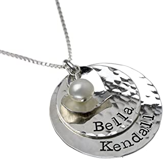 Glittery Glam Sterling Silver Personalized Necklace - Pendants Hung Together on a choice of Sterling Silver Chain along with a Sterling Silver Heart Charm and Swarovski Pearl. Great gift for her