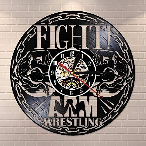 wtnhz LED-Fighting Wrestling Disco de Vinilo Reloj de Pared Reloj de Pared Reloj de Pared Deportes Arte de la Pared Gimnasio silencioso sin tictac Reloj