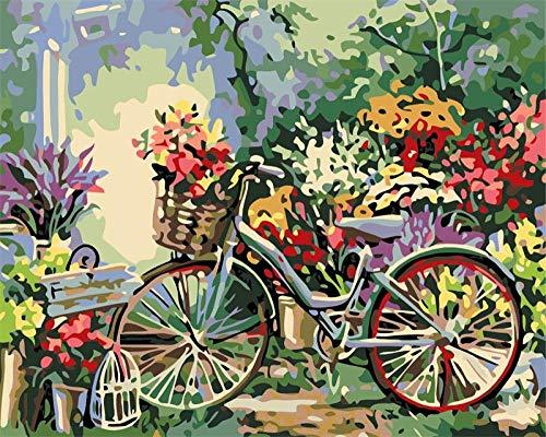 Pintar por Numeros Adultos, Flores y bicicletas DIY Pintura por números con Pinceles y Pinturas Decoraciones para el Hogar sin Marco de 40 X 50 cm