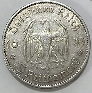 Circulated Third Reich Nazi 5 Reichsmark Silver Coin, Commemorative Coin Made for 1st Anniversary of Nazi Rule