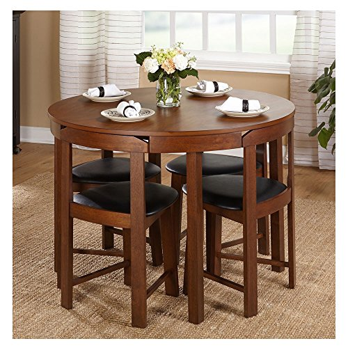 Hideaway Dining Table Home Low Back Harrisburg Tobey Compact Round Dining Set Space-Saving Design Foam Seat Cushions Round Dining Table And Four Chairs 5-APieces MDF Rubberwood Brown/Grey