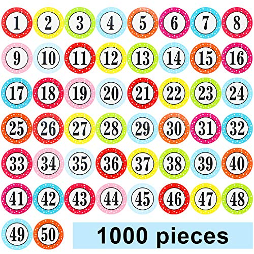 Colorful Numbers Stickers Round Number Labels 1-50 Self-Adhesive Star Number Stickers for Office Classroom Home Notebook Decorations (1000 Pieces)
