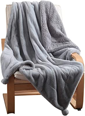 EVDAY Thick Warm Gray Throw Blanket for Winter Lightweight Luxury Rabbit Fur Pompoms Bed Blanket for Sofa Couch