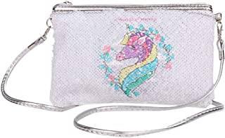 Girls' Glitter Reversible Sequins Crossbody Bag Unicorn Shoulder Bag Clutch Handbag with 2 Patterns