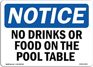 OSHA Notice Sign - No Drinks Or Food On Pool Table | Plastic Sign | Protect Your Business, Construction Site, Warehouse & Shop Area | Made In The Usa