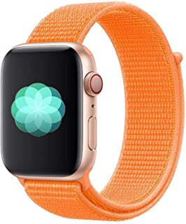Nylon Sport Band for Apple Watch 44mm 42mm, Soft Replacement Strap for iWatch Series 4/3/2/1 (Papaya)