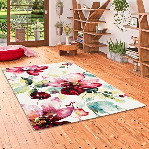 BRILLIANT Designer Teppich Rosa Pink Blumen in 3 Größen