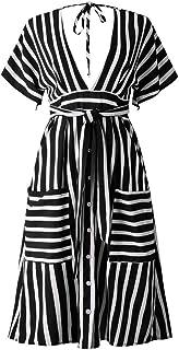 Kaister Damen Pocket V-Ausschnitt Kurzarm Minikleid Abendkleid mit Gürtel