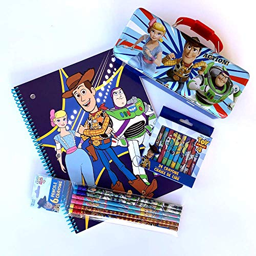 Disney Toy Story School Supplies Toy Story Tin Toy Story Notebook Toy Story Pencils Toy Story Crayons Featuring Buzz Woody Little Bo Peep 4 Piece Toy Story Art Bundle Toy Story Kit