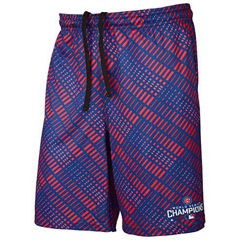 FOCO MLB Chicago Cubs Mens 2016 World Series Champions Diagonal Bar Training Short2016 World Series Champions Diagonal Bar Training Short, Team Color, Large