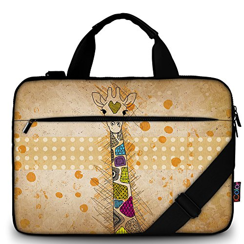 iColor 14' 15 15.4-inch Laptop Shoulder-Bag - Canvas Computer Tablet Protective Carrying Case 14-15.6 inch Notebook Briefcase with Handle (14'~15.6', Giraffe)