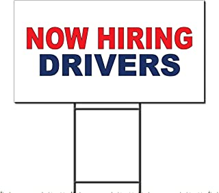 Now Hiring Drivers Red Blue Corrugated Plastic Yard Sign /Free Stakes 18 x 24 inches Two Sides Color