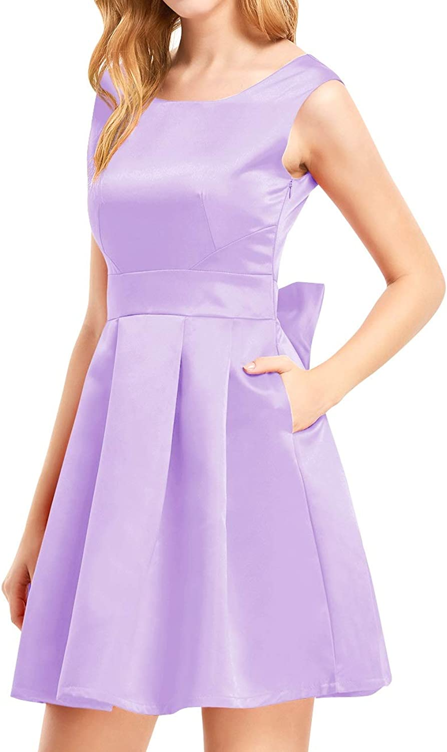 Bess Bridal Women's Backless Pockets Bow Short Prom Homecoming Party Dress