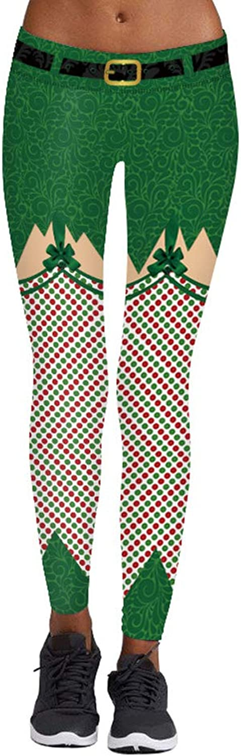 Pincuttee Women's Sexy Digital Printed Ugly Christmas Xmas Legging Funny Tights
