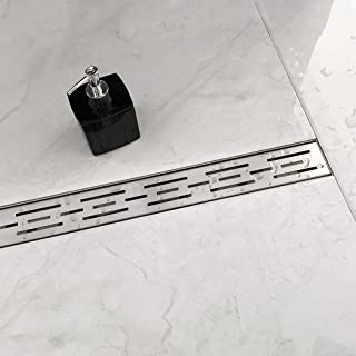 Neodrain 60 Inch Rectangular Linear Shower Drain with Brick Pattern Grate, Brushed 304 Stainless Steel Bathroom Floor Drain,Shower Floor Drain Includes Adjustable Leveling Feet, Hair Strainer