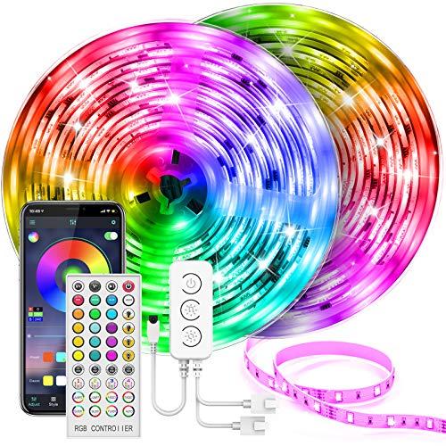 UALAU LED Strip 20M, Farbwechsel LED Streifen mit Intelligente APP-Steuerung, Sync zur Musik LED Lichterkette Streifen RGB 5050 600 LED Stripes, Anwendung für Schlafzimmer, Party und Ferien Dekoration