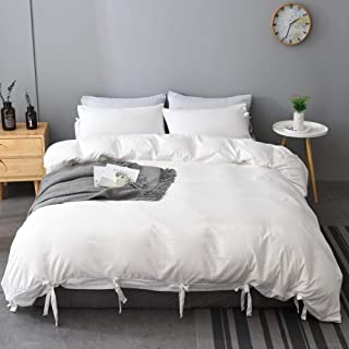 M&Meagle White Duvet Cover King(104x90 Inch) with Bow tie,3 Pieces (1 Duvet Cover, 2 Pillowcases) 100% Stone Washed Microfiber Bowknot Bedding Set for Women,Men,Boys and Grils