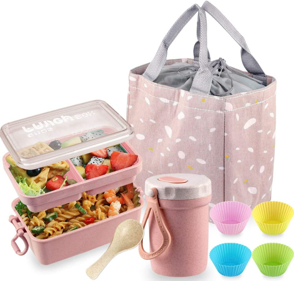 Bento Box Japanese free Lunch Kit Stackable 2 Iteryn Max 55% OFF Layer