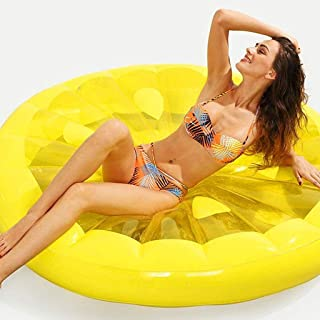 High quality Airbeds Yellow Giant Inflatable Lemon Lifebuoy Swimming Pool Floating Row Outdoor Floating Bed Lounge Toy 143...