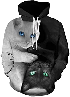 DressUMen Pullover Fall Winter Print Flame Hooded Cargo Pocket Sweatshirts