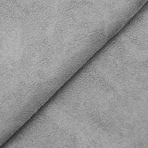 DESHOME Alessia - Tessuto al metro scamosciato in Microfibra Idrorepellente Stoffa per tappezzeria divani, cuscini, complementi d'arredo (Grigio argento, 1 metro)