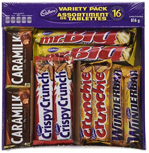 Cadbury 16 Full size Chocolate Bars Variety Pack - Wunderbar, Caramilk, Mr.Big, Crunchie, Crispy Crunch 816 g
