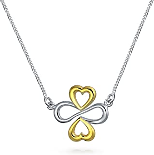 Ayllu Amulet Talisman Inspirational Intertwine Symbol Heart Infinity Clover For Love Luck Unity Pendant Necklace For Women...